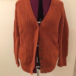 J Crew Orange Cardigan Sweater